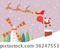 Santa Claus jump from reindeer sleigh to chimney 36247553