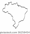 Brazil map outline graphic freehand drawing  36256454