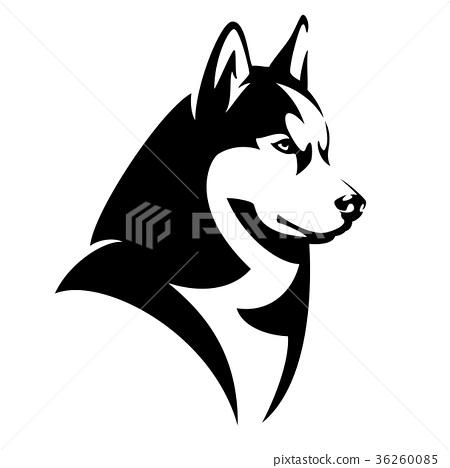 Husky dog black and white vector design 36260085