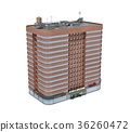 3d rendering of a red brick apartment building 36260472