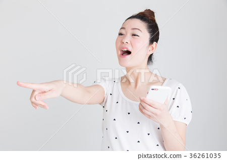 Smartphone, woman (white background) 36261035