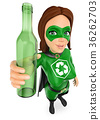 3D Woman superhero of recycling with glass bottle 36262703