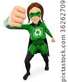 3D Woman superhero of recycling giving a punch 36262709