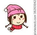 ฤดูหนาว,หมวกไหมพรม,ผ้าพันคอ 36263042