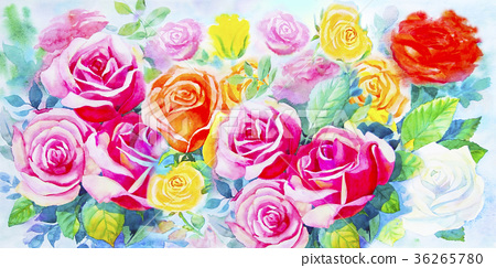 Painting  colorful bunch of roses in the garden. 36265780
