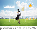 Camera headed woman standing on green grass against modern cityscape 36275797