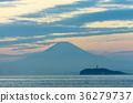 후지산, 바다, 노을 36279737
