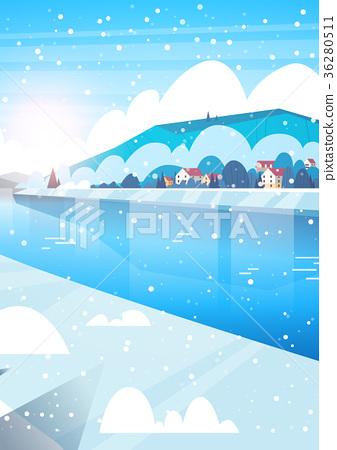 Winter Nature Landscape Houses On Frozen River 36280511