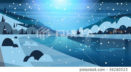 Night Winter Nature Landscape Houses On Frozen 36280523