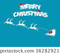 Merry christmas text. Santa cross and reindeer 36282921
