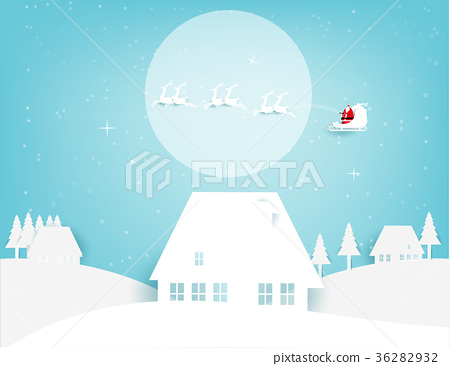 Merry Christmas. Santa Claus flying on the moon 36282932