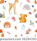 seamless, animal, watercolor 36284393