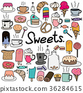 Hand Drawn Doodle Vector Sweets Set. 36284615