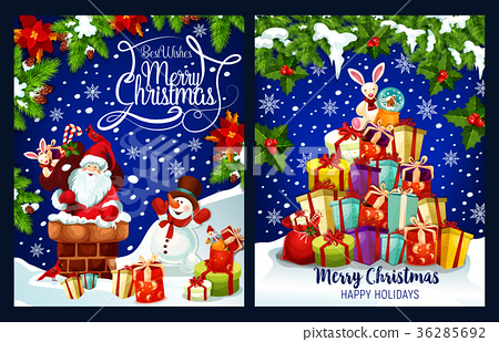 Merry Christmas Santa present vector greeting card 36285692