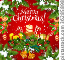 Christmas holiday card of New Year gift garland 36285898