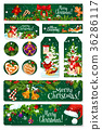 Merry Christmas vector greeting card tag banner 36286117