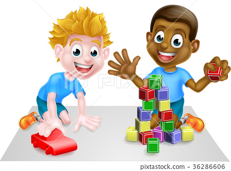 Cartoon Boys Playing With Toys 36286606