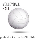 White Volleyball Ball Isolated Vector. Realistic 36286866