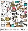Hand Drawn Doodle Vector Breakfast Set.  36286924