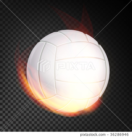 Volleyball Ball In Fire Vector Realistic. Burning 36286946