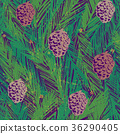 Seamless pattern with fir tree branches and cones 36290405