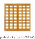 paper sliding door, wooden, fixture 36291945