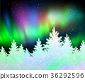Christmas background with northern lights 36292596