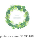 Wreath from  tropical jungle leaves. 36293409