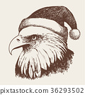 eagle bird with christmas hat, doodle hand 36293502