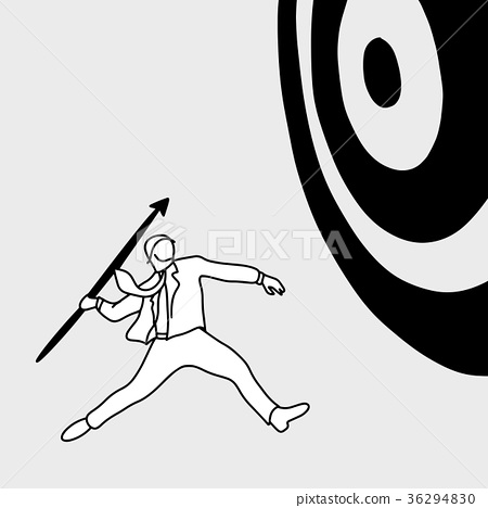 Businessman shooting the big target with spear 36294830