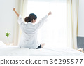 Back view of woman stretching in morning 36295577
