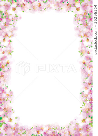Vector pink, floral frame isolated, bokeh effect. 36296354