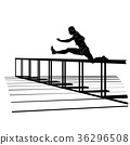Vector silhouette of girl jumping over hurdle 36296508