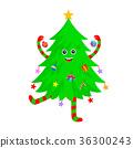 Cute Christmas tree cartoon characters design.  36300243