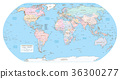 Highly detailed political World map. EPS 10 vector 36300277