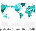 World map in four shades of turquoise blue on 36300606