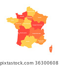 Map of France divided into 13 administrative 36300608