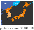 Map of South Korea, North Korea and Japan. Vector 36300610