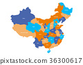 Map of administrative provinces of China. Vector 36300617
