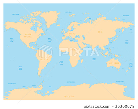 Hydrological Map Of World With Labels Of Oceans Stock Illustration