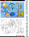 fish characters group color book 36300945
