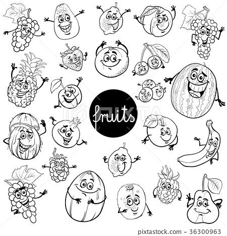 cartoon fruits characters set color book 36300963