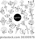 cartoon vegetables characters set color book 36300976