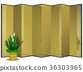 금 병풍과 소나무 장식 (자소) 자르기 36303965
