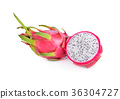 whole and half cut fresh dragon fruit on white 36304727