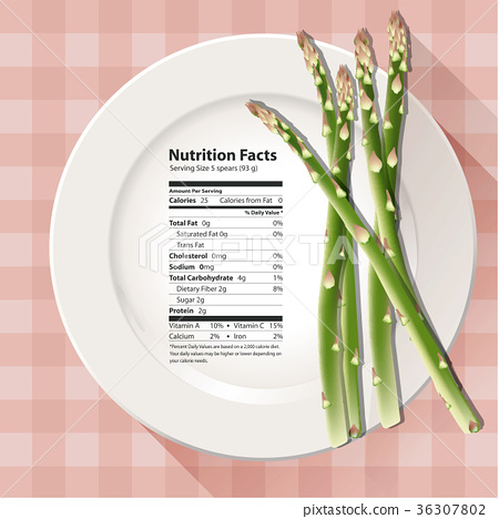 Vector of Nutrition facts asparagus 36307802