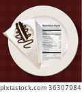 Vector of Nutrition facts of Cookie &  cream cake 36307984