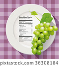 Vector of Nutrition facts Green grapes 36308184