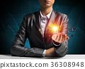Businessman presenting solar system. 36308948