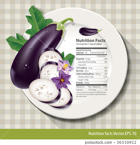 Vector of Nutrition facts in eggplant 36310912